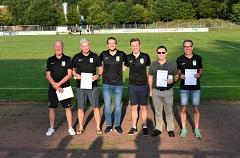 Geehrt für jahrzehntelange Vereinsarbeit Uwe Engelke, Marko Linderkamp, Peter Westerhagen und Frank Schierholz©svaueliebenau