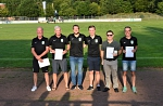 Geehrt für jahrzehntelange Vereinsarbeit Uwe Engelke, Marko Linderkamp, Peter Westerhagen und Frank Schierholz